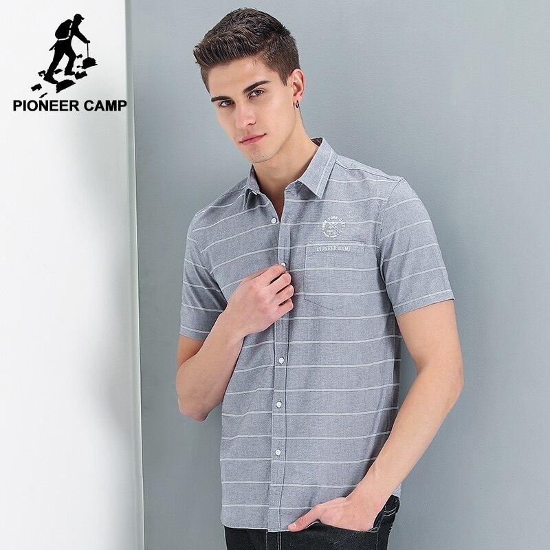 Pioneer Camp nouveau style court chemise hommes marque vêtements mode chemise rayée mâle top qualité 100% coton chemise décontractée ADC701121