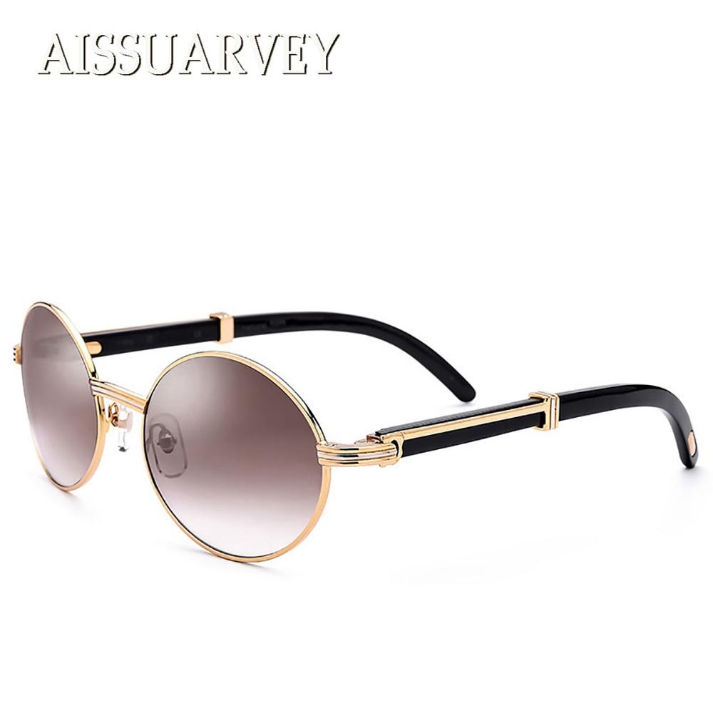 2018 High Quality Round Vintage Retro Metal Polarized Sunglasses for Men Fashion Brand Designer Luxury Rimless Horn Sun Glasses 2016 new fashion sunglasses women brand designer sun glasses vintage eyewear