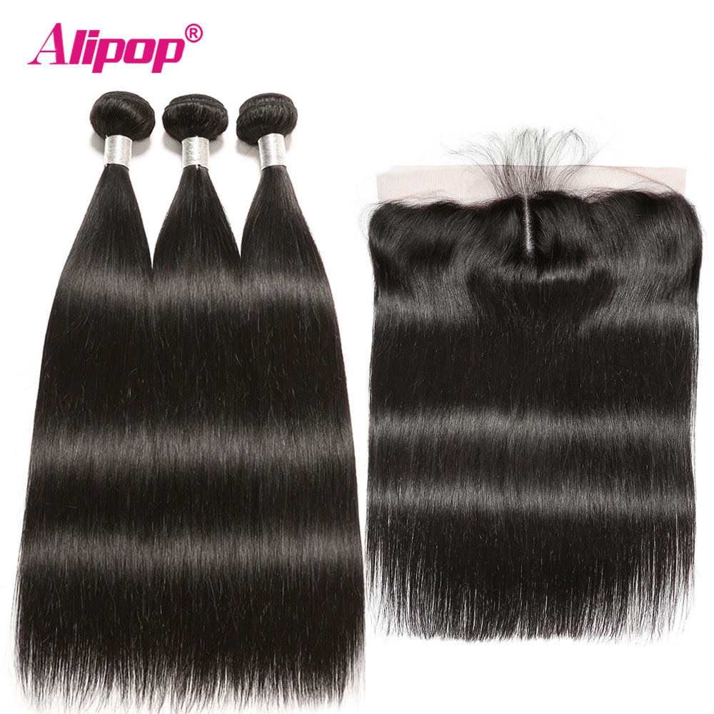Alipop Straight Hair Weaves Human Hair With Closures 13x4 Frontal With Bundles Indian Remy Hair 3