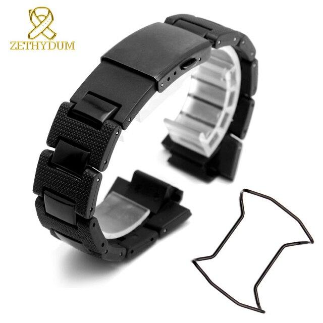 264bb1a00055 De plástico de wathband para casio G-shock DW-6900 DW9600 DW5600 GW-M5610  reloj Correa y caja de acero parachoques accesorios de acero inoxidable