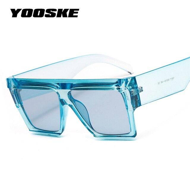 YOOSKE cuadrado de gafas de sol de las mujeres superior plano azul claro Rosa gafas de sol hombres Vintage grande cuadrado marco gafas UV400