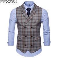 FFXZSJ 2019 Best Selling Mens Suit Vest Fashion Casual Everyday Slender Checker Lattice Men's Vest Coat Thin Business Jacke