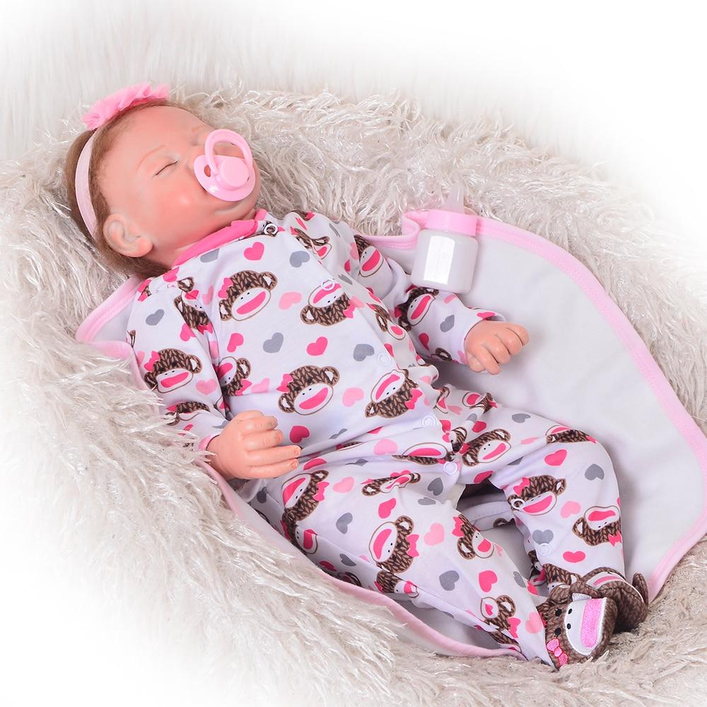 Стильный Reborn куклы младенца силикона Soft Touch 22 дюймов реалистичные Baby Alive Кук ...