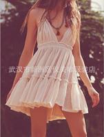 비치 드레스 섹시한 드레스 여성 등이없는 미니 드레스 여름 드레스 끊기 목 V 넥 민소매 여성 의류 Vestidos HA33