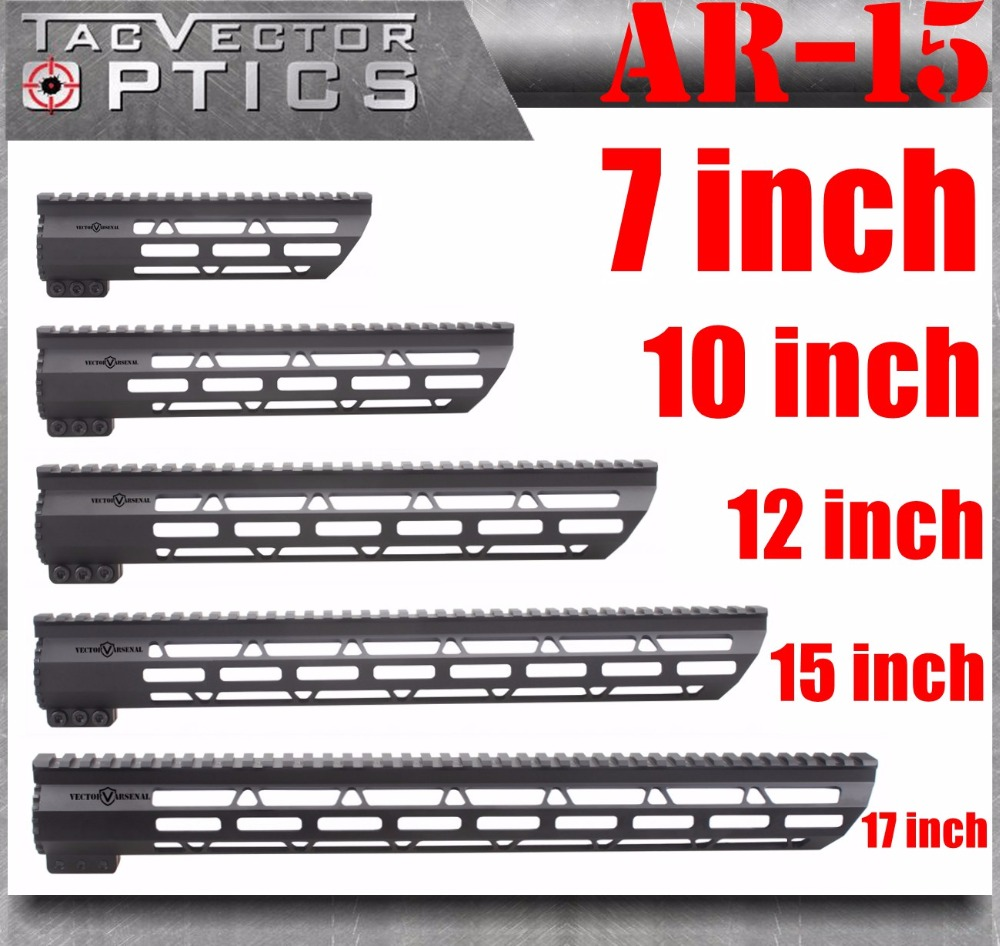 Tactical AR-15 M4 M-LOK MLOK 7 10 12 15 17 inch Slim Free Float Handguard Picatinny Rail Mount Bracket fit .223 5.56 AR15 M16 funpowerland free shipping tactical t serie 4 15 free float 15 inch handguard quad rail scope mount