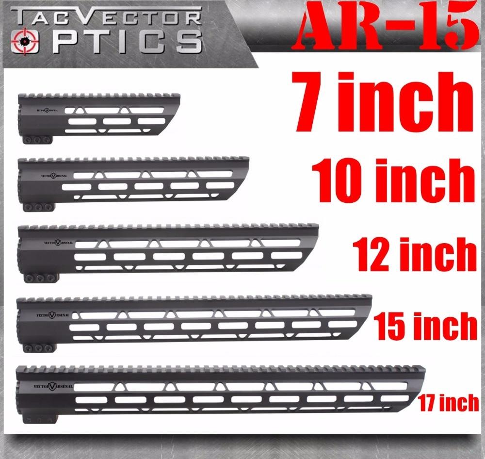 Tactique AR-15 M4 M-LOK MLOK 7 10 12 15 17 pouce Slim Free Float Handguard Picatinny Rail Mount Support fit. 223 5.56 AR15 M16