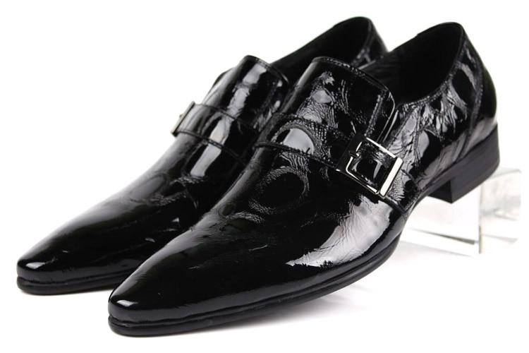 Nagyméretű EUR45 Divatos fekete csizma férfi ruha cipő szabadalmi bőr üzleti cipő férfi esküvői cipő csattal