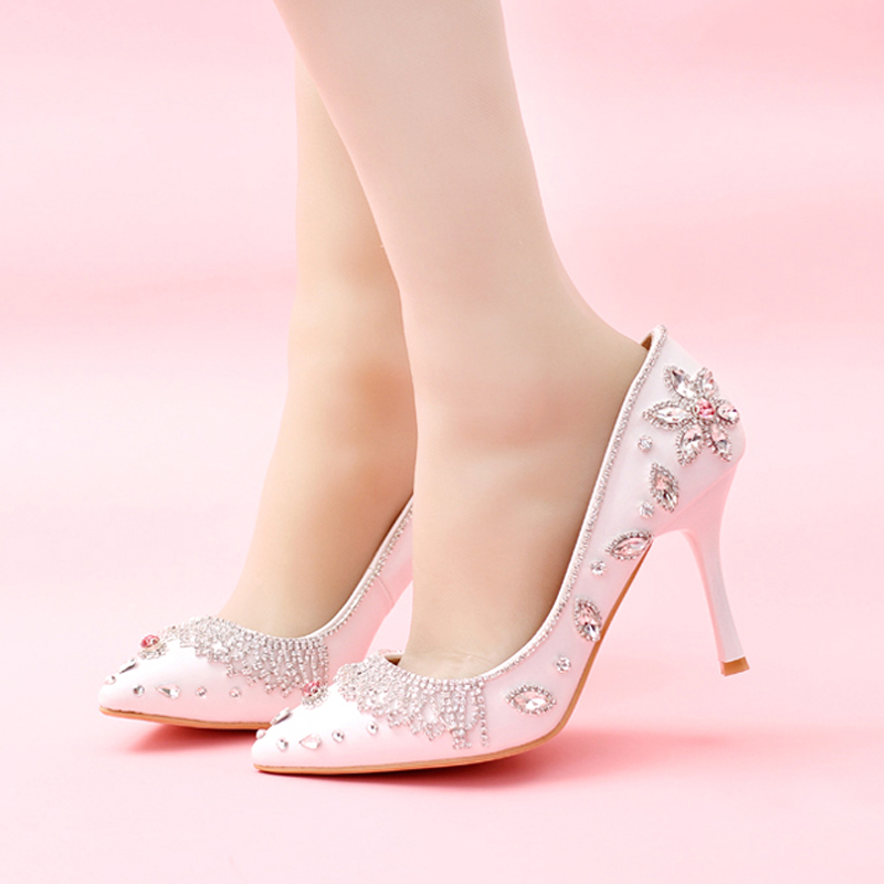 2016 White Pointed Toe Wedding Shoes High Heels Genuine Leather Bride Pumps Women Silver Rhinestone Bridal