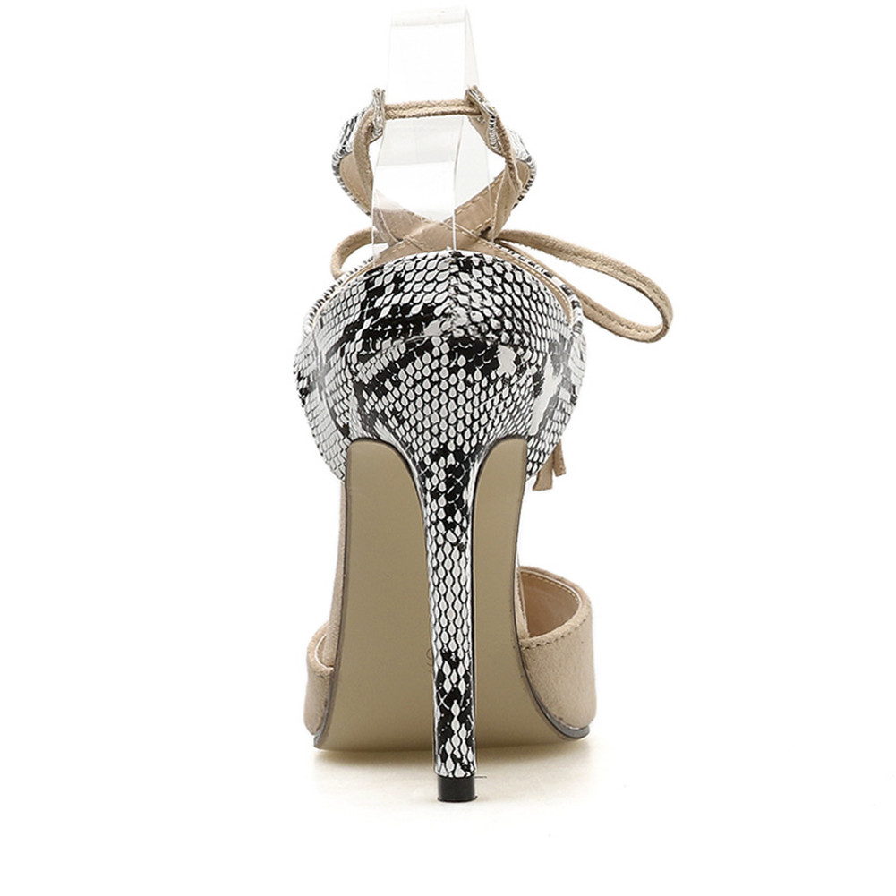 KARINLUNA New Big Size 32 43 Ladies High Heels Snake Veins Fringe Shoes Woman Casual Party Ol Sexy Evening Summer Sandals 2019 in High Heels from Shoes