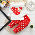 Baby Sets Dot Long Sleeve Cotton Toddler Baby Girl Clothes Children Set Bowknot T-Shirt+Pant Summer