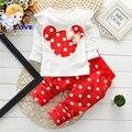 Conjuntos de bebê Dot Manga Longa de Algodão Da Criança Do Bebê Roupas de Menina Crianças Definir Bowknot T-Shirt + Calça de Verão