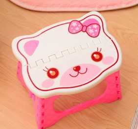 CAMMITEVER Cute Cat Stools Eco-friendly Plastic Portable Thicken Safety Small Seat Folding Kindergarten Children Stools