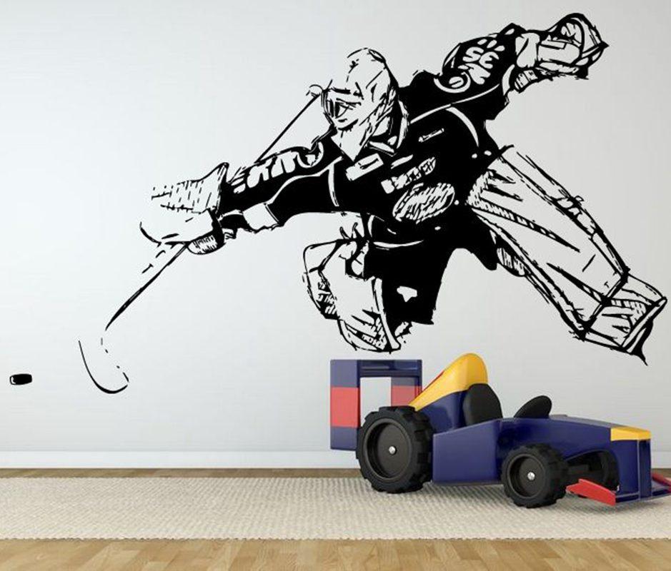 Ice hockey sticker winter sports decal muurstickers for Custom vinyl mural prints