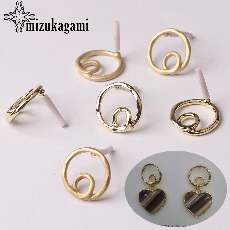 Zinc Alloy Golden Hollow Round Circle Base Earrings Connector 18mm 6pcs/lot For DIY Earrings Jewelry Making Accessories