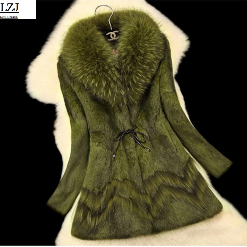LZJ high quality luxury fur coat coat winter jacket jacket lady coat leather raccoon fur collar natural rabbit fur long coat 3XL