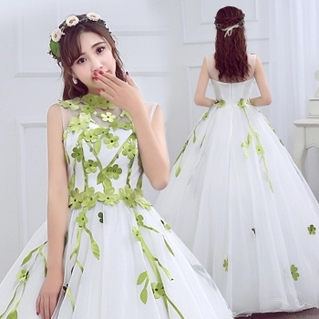 100% real green leaf vein fairy wooden cosplay display ball gown medieval dress Renaissance gown queen Victorian Belle Ball gown