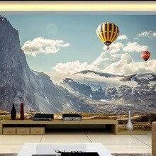 Papel tapiz 3d para habitación, montaña nevada, globo de aire caliente, fondo moderno Simple, mural de pared, papel tapiz 3d