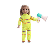 ZWSISU New Arrivals Doll Clothes 3 Pcs Doll Firefighter Uniform With Trumpet & Boots For 18 Inch & 43 Cm Doll Accessories(China)