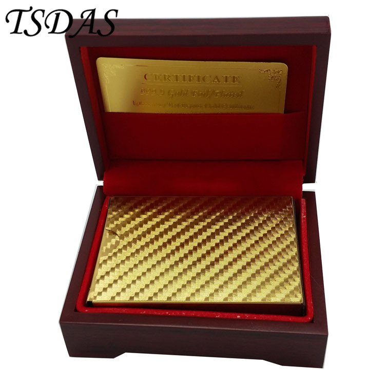Normal Style Waterproof Plastic Playing Card With Wooden Box Golden Poker Cards 24K Gold Foil Plated as Wedding Gift in Party Favors from Home Garden