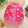 2016 Младенческой теплый свитер новорожденных девочек весна осень случайные свитер малыш мультфильм кардиган плюс толстый бархат свитер