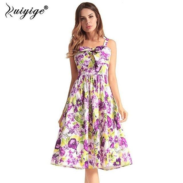 Ruiyige взлетно посадочной полосы элегантный ретро миди сексуальное платье Холтер рукавов лук винтажные наряды цветочный принт летнее