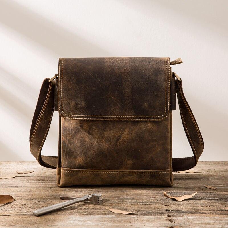 Closeout DealsÀMessenger-Bags Leather Shoulder Retro Vintage Casual Cow-Skin Genuine-Cowhide Mens Flap