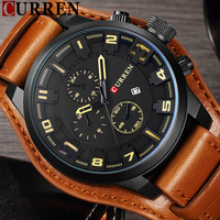 CURREN Date Men Watch Top Luxury Brand Sport Military Business Casual Male Clock Leather Band Wrist