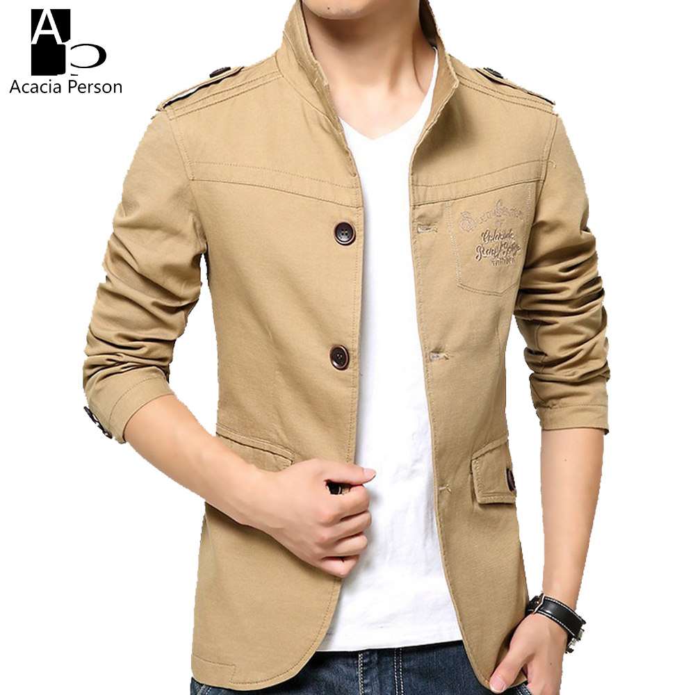 Mens khaki jacket casual - 2017 New Spring And Summer Men S Jackets Solid Cotton Casual Coat Men Army Military Khaki Jacket