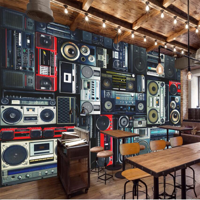 Beibehang Retro Vintage Recorder Radio Restaurant Restaurant Wall Custom  Large Mural Green Wallpaper papel de parede para quarto