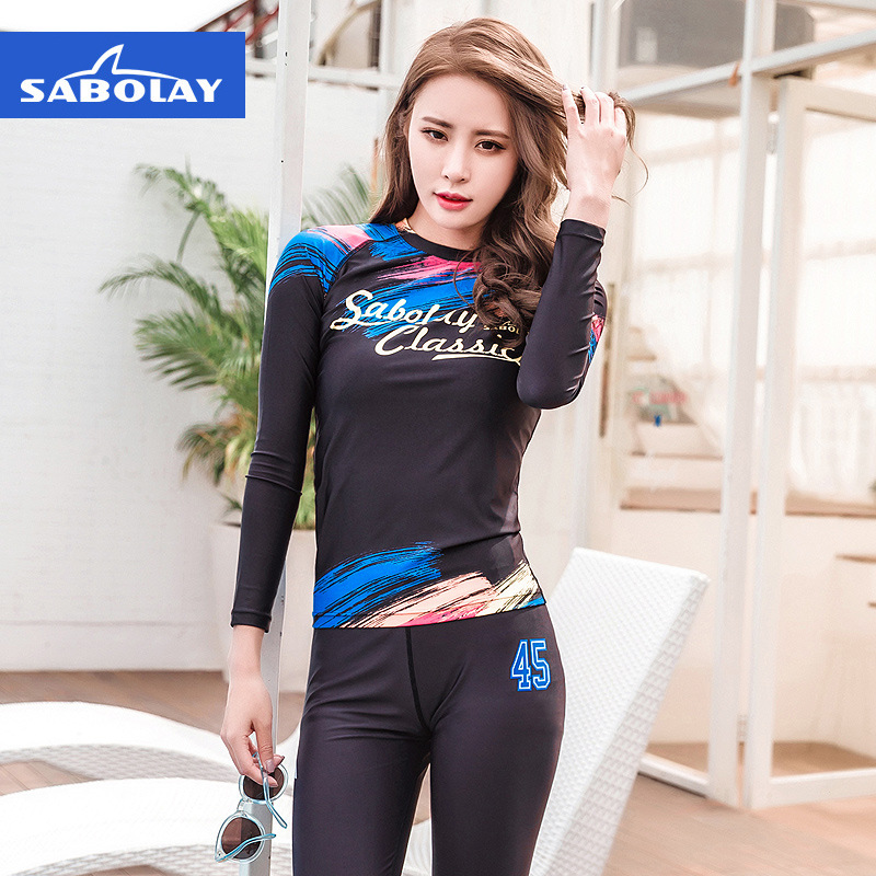 SABOLAY One Piece Woman Swim Shirts Long Sleeve Body Swimsuit Sun Surf Skin Lycra Top Snorkeling