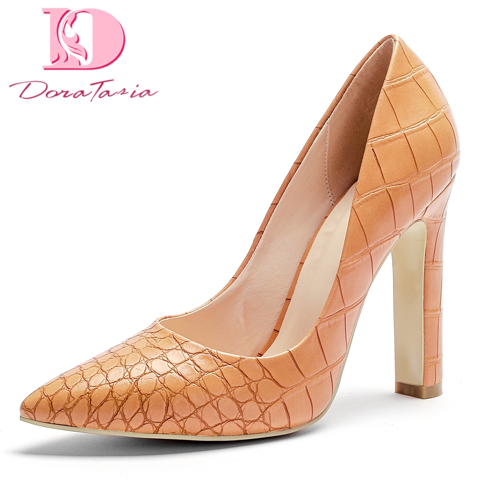 DoraTasia Brand new plus size 34-45 top quality Fashion Spring Pumps Women Shoes Woman Pumps Pointed Toe High Heels For Wedding fletite top quality elegant embroidery 8 color women pumps pointed toe thin high heels 2018 new fashion luxury women shoes brand