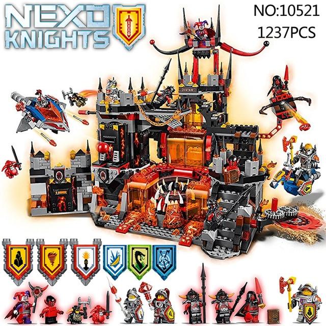Compatible with Lego 70323 nexoe knights 10521 14019 1237Pcs Jestro Volcano Lair Figure building blocks bricks toys for children