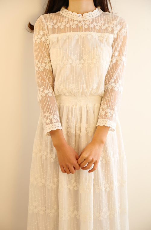 White Cotton Long Sleeve Dress