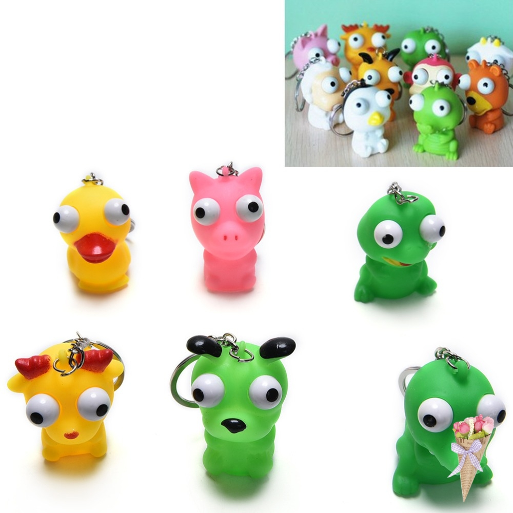 Cooperative Novelty Products Animal Vent Toy Fun Antistress Extruding Big Raised Eyes Doll Keychain Squeezing Toys Funny Anti Stress Ball Activating Blood Circulation And Strengthening Sinews And Bones Mobile Phone Accessories