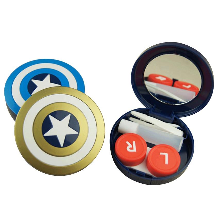 <font><b>Hot</b></font> Sale Captain America Contact Lenses Case Random Color Fashion Mini Eye Wear Box