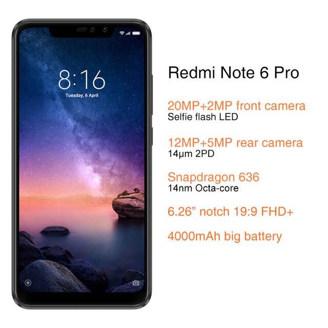 US $163 99  Global Version Xiaomi Redmi Note 6 Pro 3GB 32GB Snapdragon 636  6 26
