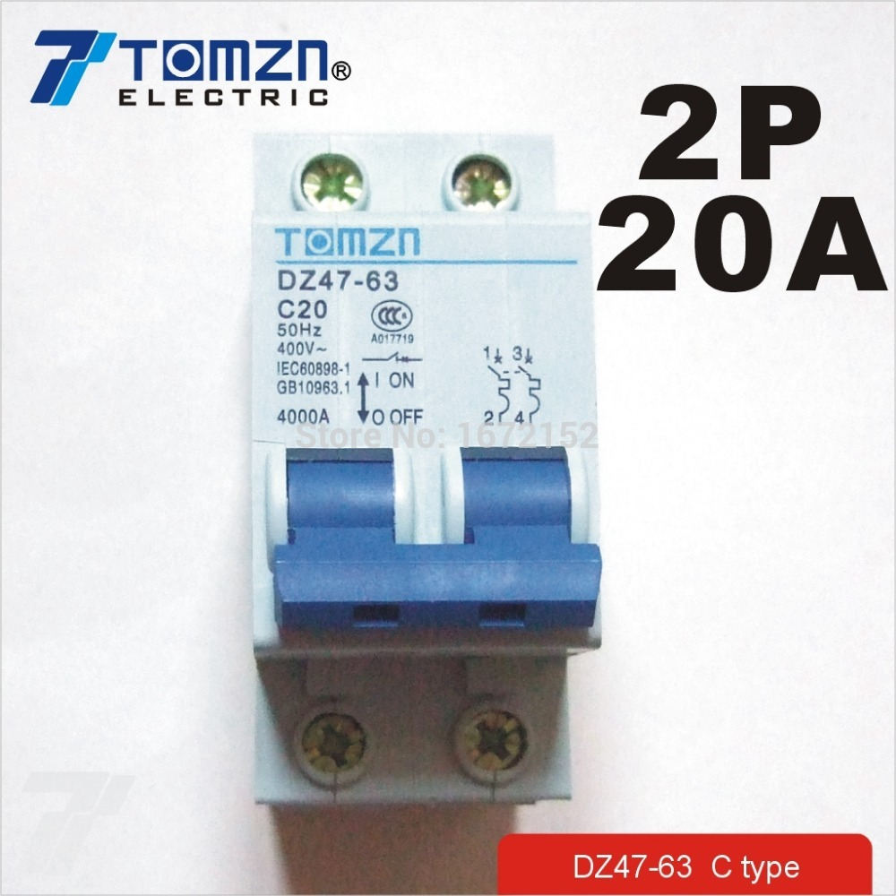 2 P 20A 400 V ~ 50 HZ/60 HZ Devre kesici AC MCB emniyet kesici C tipi2 P 20A 400 V ~ 50 HZ/60 HZ Devre kesici AC MCB emniyet kesici C tipi