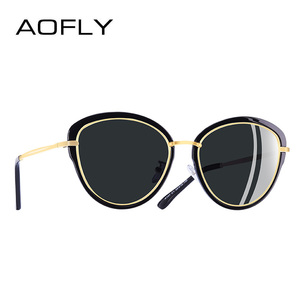 Image 2 - Aofly óculos de sol feminino polarizado, óculos de sol estilo olho de gato, vintage, polarizado, moda feminina uv400 a107 2020
