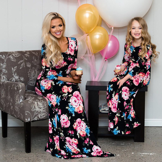13841866f2 mother daughter dresseses summer 2019 mom and daughter dress mommy and me  family look long dress party family matching clothes