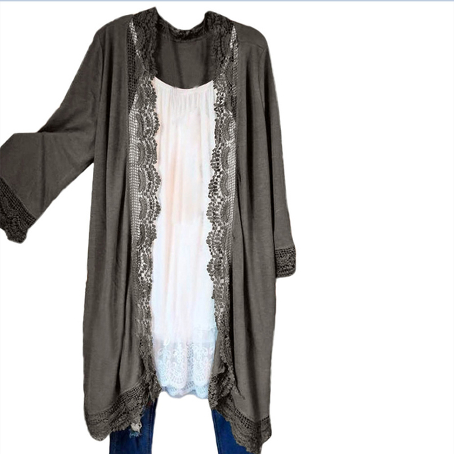 2019 Summer Cardigan Beach Cover-Up Women Embroidery Hollow Out Tops Sexy Lace Fashion Solid color Long Street-wear Blouses