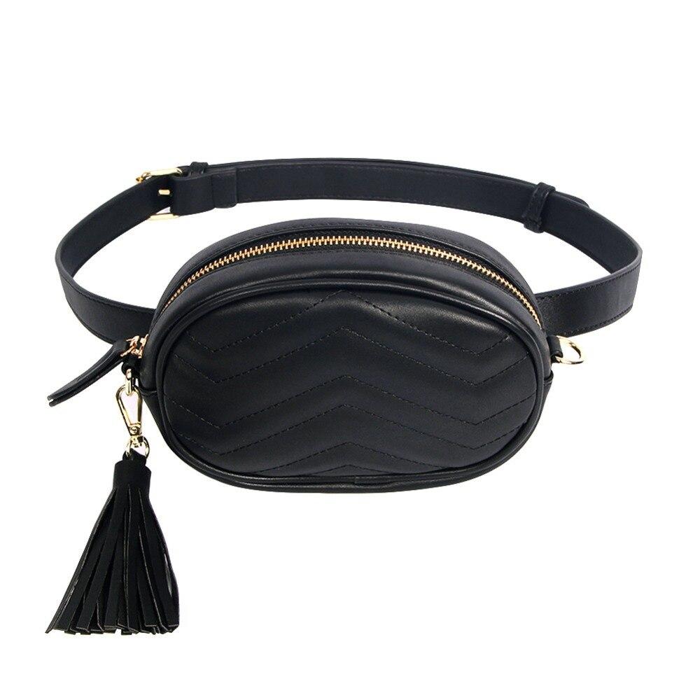 Brand Women s Belt Bags Solid Pu Leather Waist Packs Ladies Tassel Fanny Pack Female Travel
