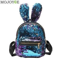 Mini Sequins Backpack Cute Rabbit Ears Shoulder Bag For Women Girls Travel Bag Bling Shiny Backpack