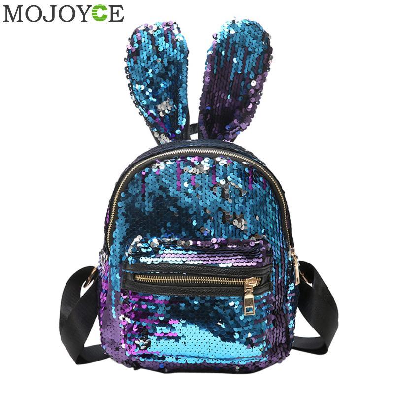 Mini Sequins Backpack Cute Rabbit Ears Shoulder Bag For Women Girls Travel Bag Bling Shiny Backpack Mochila Feminina Escolar New