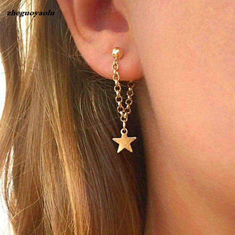 Oorbellen Fringed Gold Stars Design Chain Long Earrings Statement Earrings Pendant Wedding Earrings Jewelry Tassel Earrings