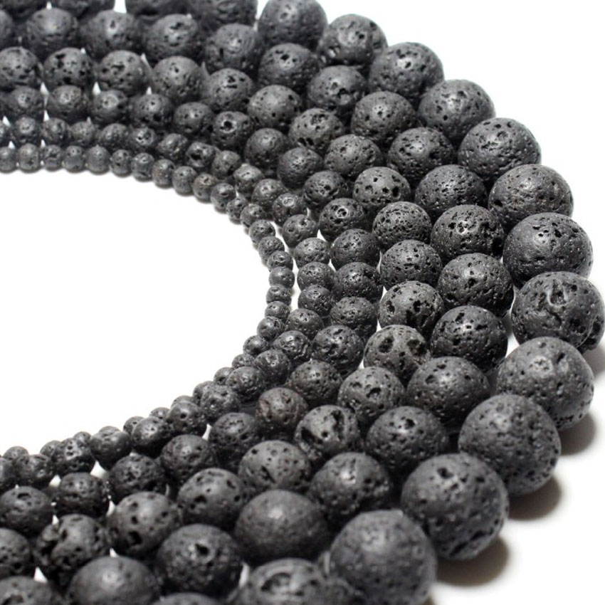 Natural Lava Rock Round Shape DIY Gemstone Loose Spacer Beads 4-10mm  1 Strand