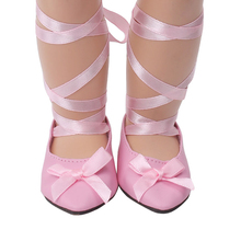 18 inch Girls doll shoes Pink lace dance shoe ballet American new born accessories Baby toys fit 43 cm baby s209