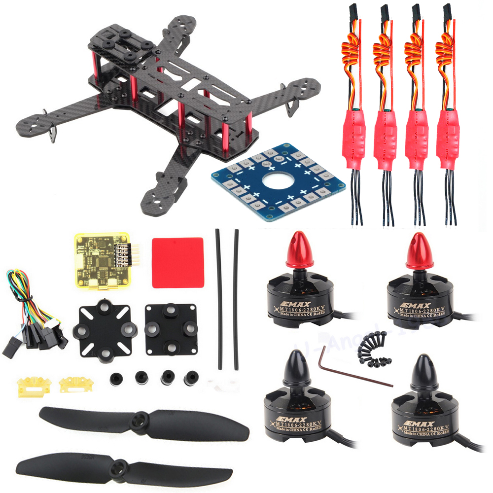Mini 250 H250 Carbon Fiber Frame 1806 2280 Brushless Motor 12A ESC CC3D Control Board 5030 Propeller For QAV250 Quadcopter DIY mini zmr250 carbon fiber quadcopter cc3d evo control mt2204 2300kv motor emax blheli firmware 20a esc 5045 prop led lights board