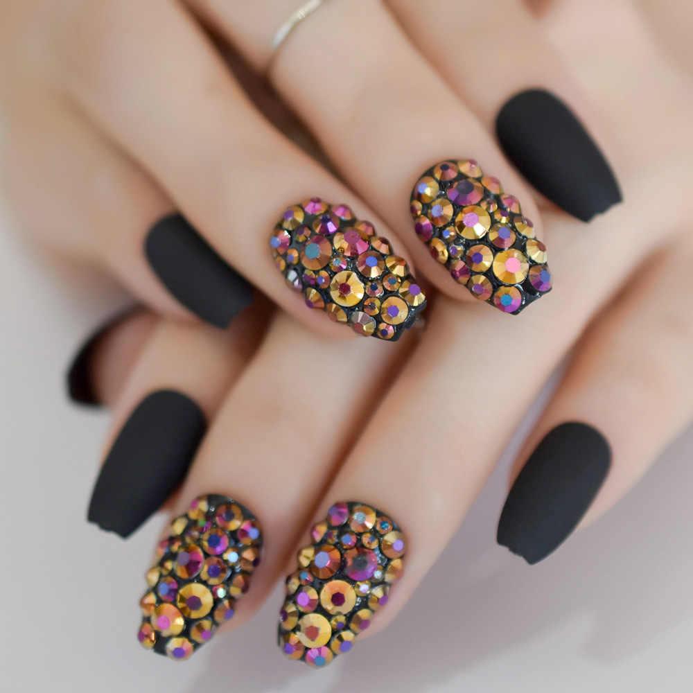 24 Coffin Short Matte Black Nails Rhinestones Decoration ...