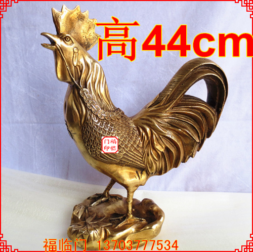 Opening feng shui bronze copper rooster chicken king money to help transport Cai Decoration of peach home decoration gifts