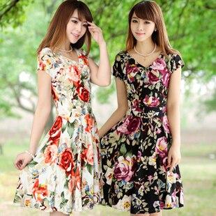 2013 Summer Women's Dress  V-Neck Milk Silk Floral Beach Dress Sundress 24 colors Free Shipping